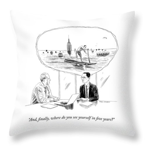 """""""and Finally Throw Pillow featuring the drawing Yourself In Five Years by Karl Stevens"""