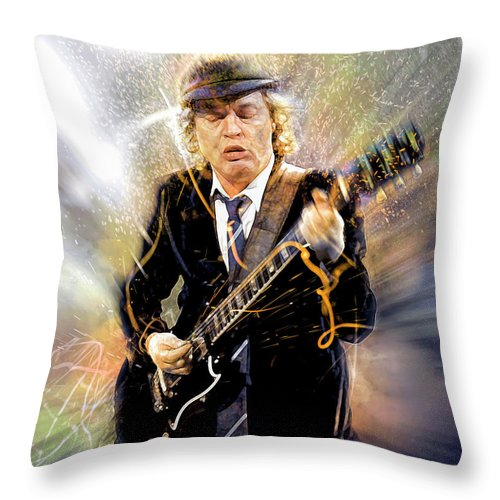 Angus Young Throw Pillow featuring the digital art You've been thunderstruck by Mal Bray