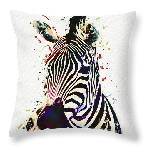 Zebra Throw Pillow featuring the drawing Zebra Watercolor Painting by Nikolay Radkov