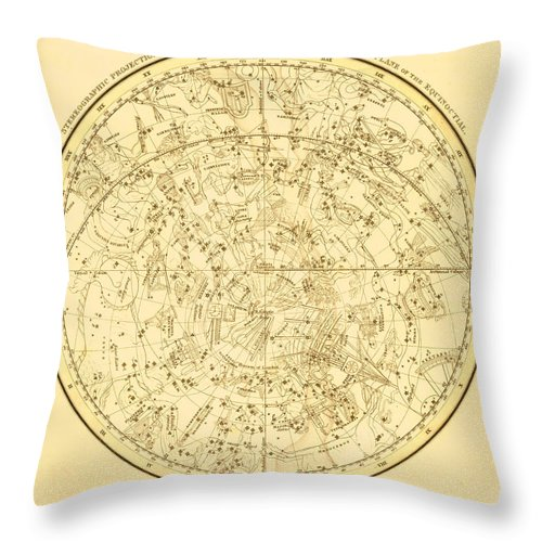 Engraving Throw Pillow featuring the digital art Zodiac Map by Nicoolay
