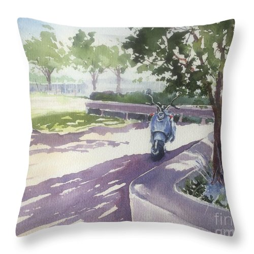 Shady Spot In Zuanich Park Throw Pillow featuring the painting Shady Spot by Yohana Knobloch