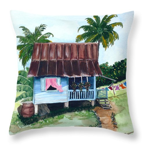 Landscape Painting Caribbean House Painting Blue House Painting Trinidad And Tobago Painting Greeting Card Painting Island Painting Tropical House Painting Blue Painting Throw Pillow featuring the painting Little Blue House by Karin Dawn Kelshall- Best