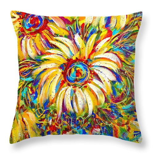 Flowers Throw Pillow featuring the painting Sunflower Burst by Natalie Holland