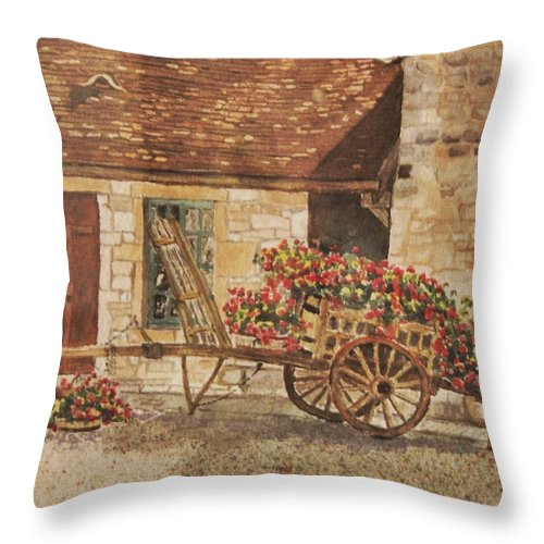 Rustic Throw Pillow featuring the painting Vougeot French Vineyard by Mary Ellen Mueller Legault