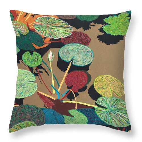 Landscape Throw Pillow featuring the painting Catfish Corner by Allan P Friedlander