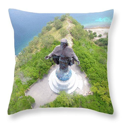 Travel Throw Pillow featuring the photograph Cristo Rei of Dili statue of Jesus by Brthrjhn2099