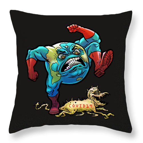 Empowering Throw Pillow featuring the digital art Earth vs Virus by Jonathan Buhl