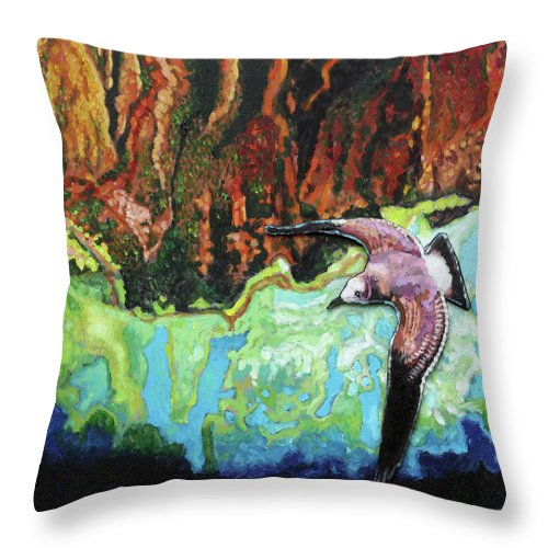 Sea Gull Throw Pillow featuring the painting Flying High by John Lautermilch