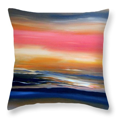 Abstract Throw Pillow featuring the painting Land, Sea and Sky by Carol Sabo
