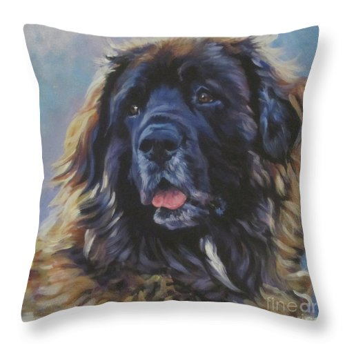 Leonberger Throw Pillow featuring the painting Leonberger by Lee Ann Shepard