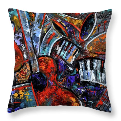 Abstract Throw Pillow featuring the painting Make Music #2 by Debra Hurd