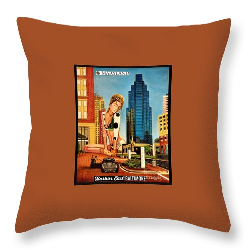 Throw Pillow featuring the painting Maryland Harbor East by Jude Darrien