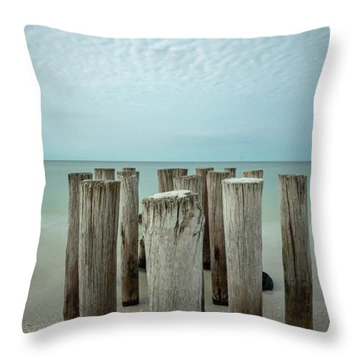 Naples Florida 2021 Throw Pillow featuring the photograph Naples Pilings 2021 by Joey Waves