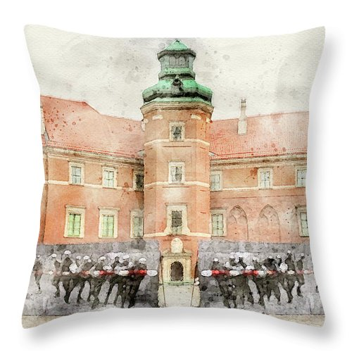 Warsaw Old Town Throw Pillow featuring the mixed media Polish Revolution Exhibition 1 by Smart Aviation