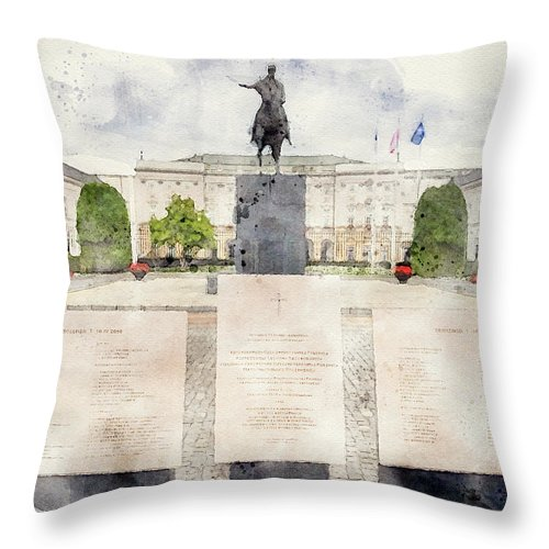 Old Town Warsaw Throw Pillow featuring the mixed media Presidential Palace, Warsaw by Smart Aviation