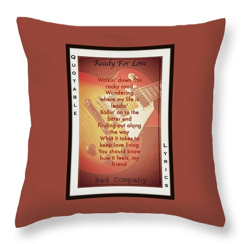 Bad Company Throw Pillow featuring the photograph Ready For Love by David Norman