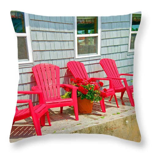 Red Throw Pillow featuring the photograph Red Chairs by Debbi Granruth