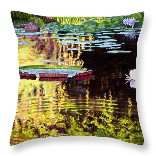 Garden Pond Throw Pillow featuring the painting Ripples On A Quiet Pond by John Lautermilch