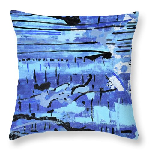 Colorado Throw Pillow featuring the painting Something Blue by Pam Roth O'Mara