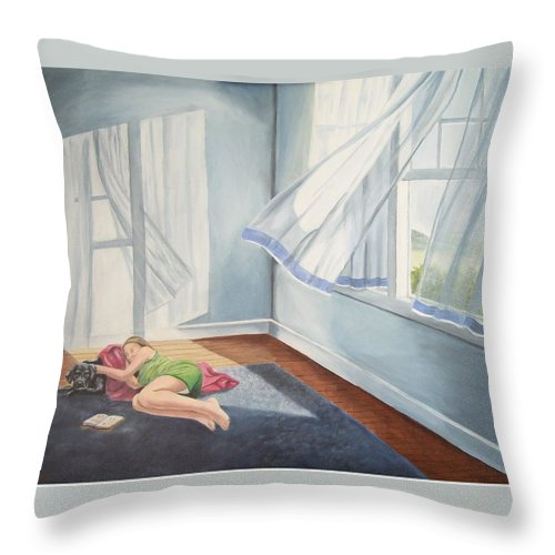 Curtains Blowing Throw Pillow featuring the painting Summer Napping by Wanda Dansereau
