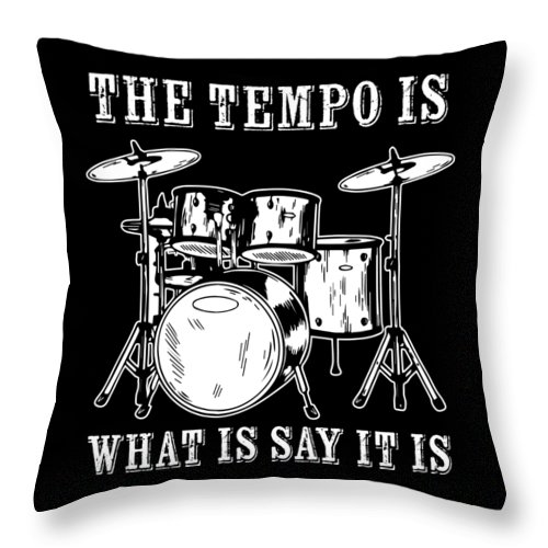 Drummer Throw Pillow featuring the digital art Tempo Music Band Percussion Drum Set Drummer Gift by Haselshirt
