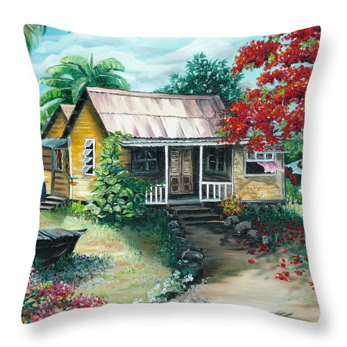 Landscape Painting Caribbean Painting Tropical Painting Island House Painting Poinciana Flamboyant Tree Painting Trinidad And Tobago Painting Throw Pillow featuring the painting Trinidad Life by Karin Dawn Kelshall- Best