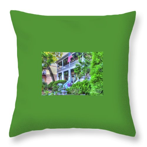 Flag Throw Pillow featuring the photograph Tropical House by Debbi Granruth