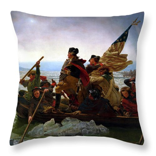 George Washington Throw Pillow featuring the painting Washington Crossing the Delaware by Emanuel Leutze