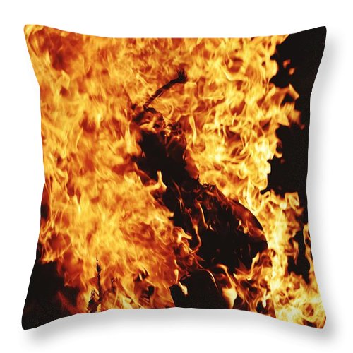 Campfire Throw Pillow featuring the photograph Closeup of Fire at time of festival by Ravindra Kumar