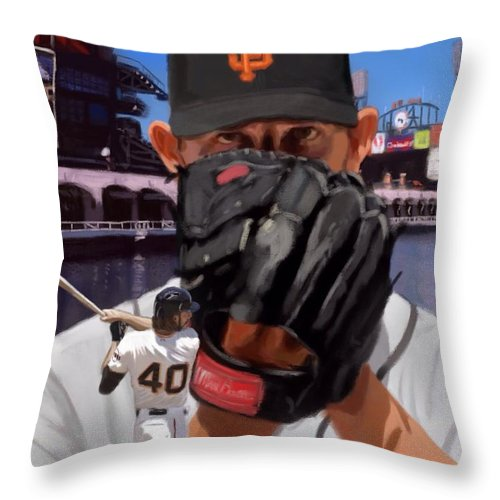 Madison Bumgarner Throw Pillow featuring the painting Mad Bum by Jeremy Nash