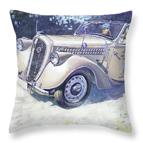 Shevchukart Throw Pillow featuring the painting 1939 Skoda Roadster 1100 by Yuriy Shevchuk