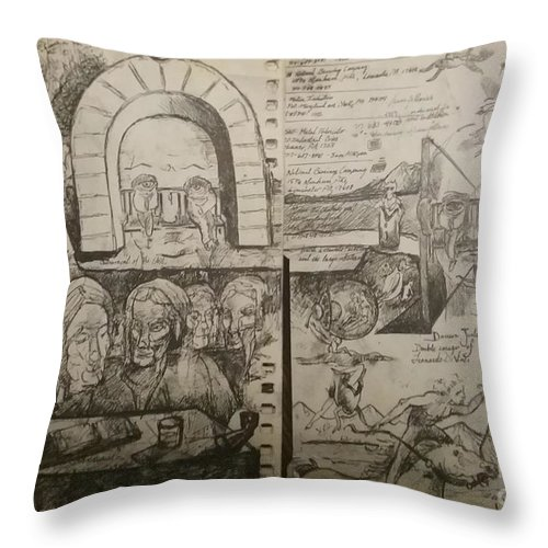 Orions Betl Throw Pillow featuring the drawing 1st half of sketch for, Time Immutable, Orions Belt, and the New Madrid Straight by Jude Darrien