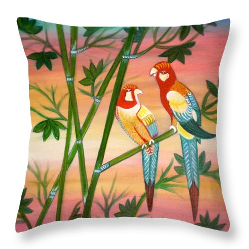 Acrylic Throw Pillow featuring the painting Birds in Paradise by Manjiri Kanvinde