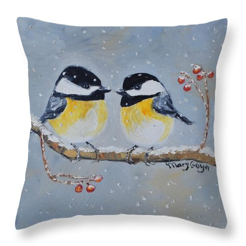 Chickadees Throw Pillow featuring the painting 2 Chickadees in the Snow with berries-1 by Mary Gwyn Bowen