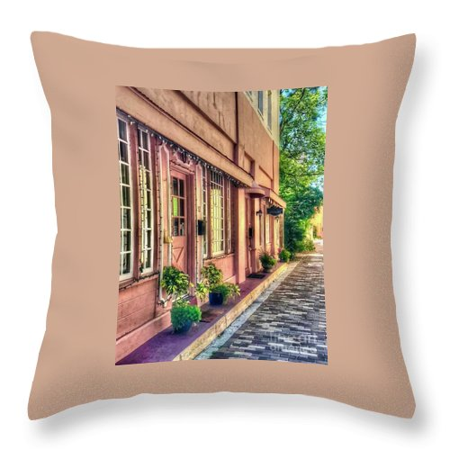 Building Throw Pillow featuring the photograph In the Pink by Debbi Granruth