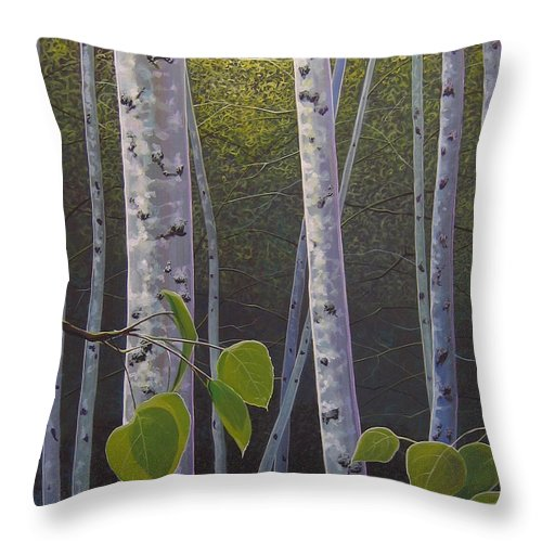 Aspen Throw Pillow featuring the painting Light in the Forest by Hunter Jay