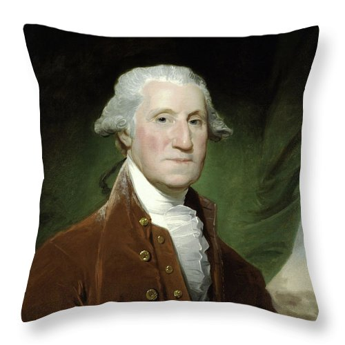 George Washington Throw Pillow featuring the painting President George Washington by War Is Hell Store