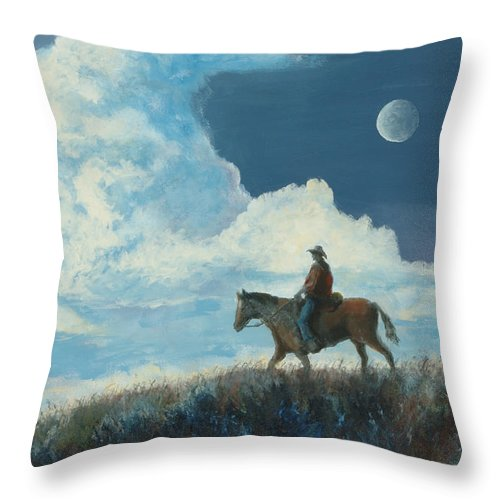 Cowboy Throw Pillow featuring the painting Rider Against the Sky by Jerry McElroy