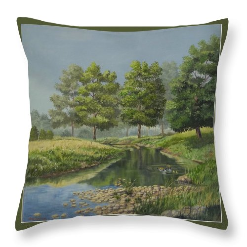 The Ky. Landscape Throw Pillow featuring the painting The First Swim by Wanda Dansereau
