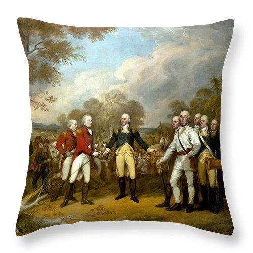 Revolutionary War Throw Pillow featuring the painting The Surrender of General Burgoyne by War Is Hell Store