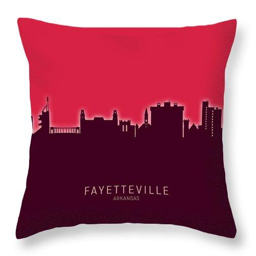 Fayetteville Throw Pillow featuring the digital art Fayetteville Arkansas Skyline by Michael Tompsett