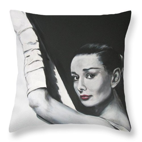 Audrey Hepburn Throw Pillow featuring the painting Audrey Hepburn by Eric Dee