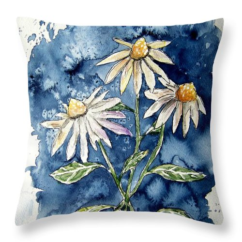 Daisy Throw Pillow featuring the painting 3 Daisies Flower Art by Derek Mccrea