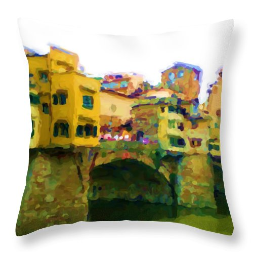 Florence Throw Pillow featuring the mixed media Florence by Asbjorn Lonvig