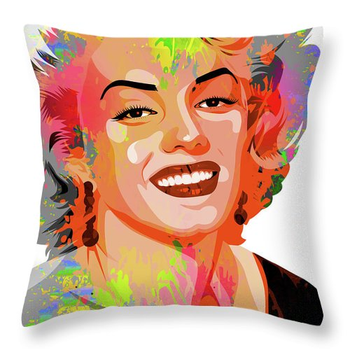 Marilyn Throw Pillow featuring the painting Marilyn Monroe by Stars on Art