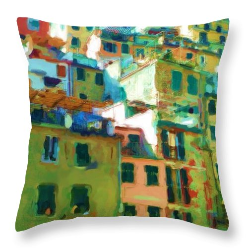 Cinque Terre Throw Pillow featuring the mixed media Cinque Terre by Asbjorn Lonvig