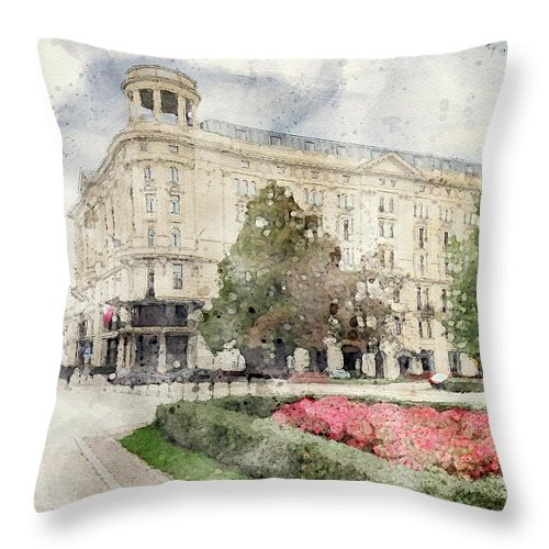 Warsaw Old Town Throw Pillow featuring the mixed media Warsaw Old Town 7 by Smart Aviation