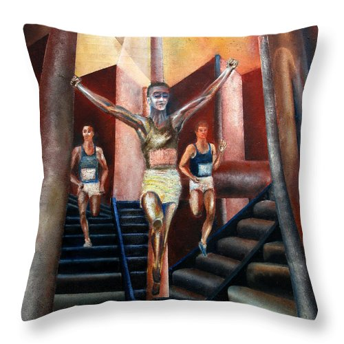 Figures Throw Pillow featuring the painting A day in the life by Tom Conway