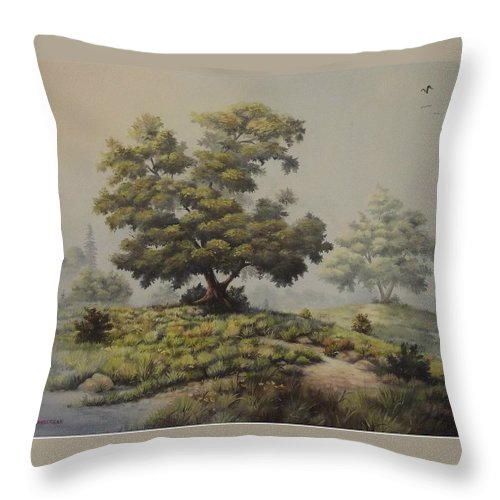 Misty Morning Throw Pillow featuring the painting A Foggy Texas Morning by Wanda Dansereau