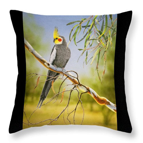 Bird Throw Pillow featuring the painting A Friendly Face - Cockatiel by Frances McMahon
